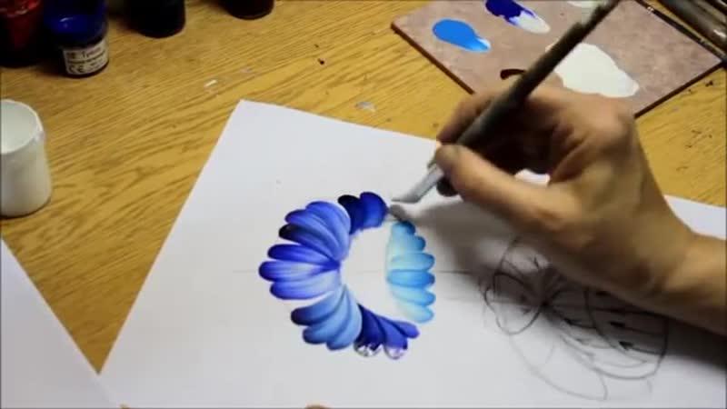 Рисуем цветы в урало-сибирской технике росписи