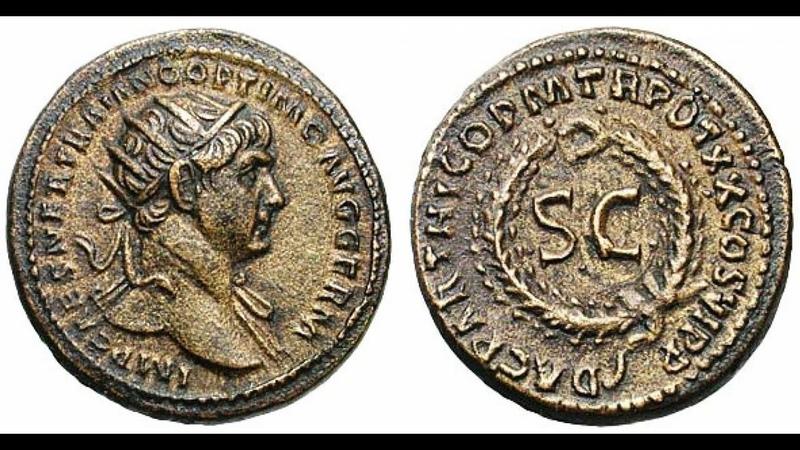 Семис, 116 г., Монета Траяна, Древний Рим, Semis, 116 AD