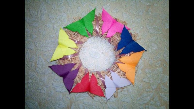 Веночек с бабочками оригами