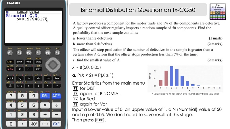 Binomial Distribution Question on Casio fx-CG50 (Statistics Mode with Inverse Binomial and CD)