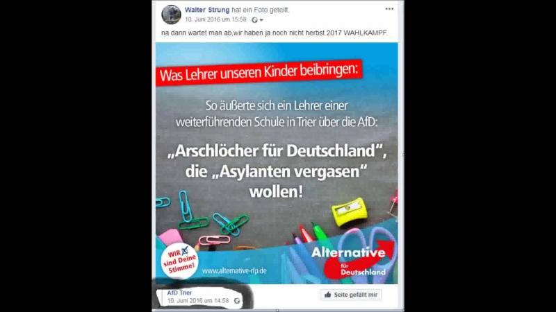 Arschlöcher für Deutschland, die Partei bestünde aus Idioten und wolle Asylanten vergasen.
