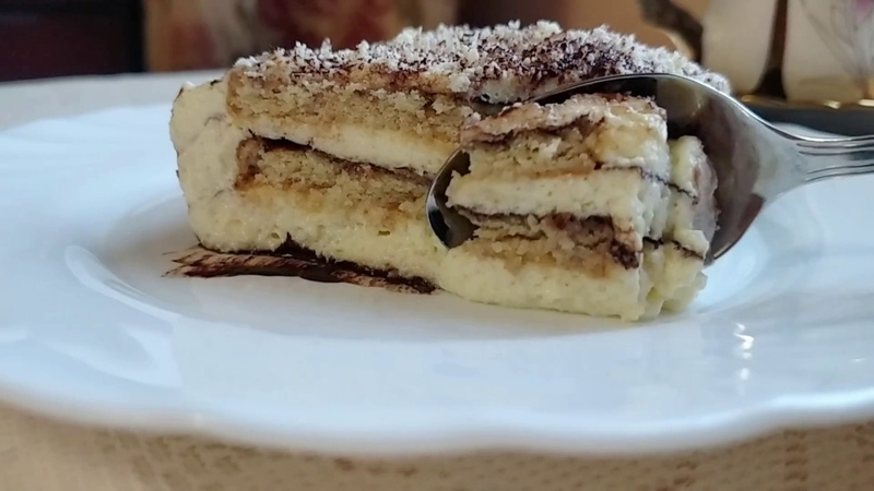 Тирамису с песочным печеньем Тірамісу з пісочним печивом Cake TIRAMISU with shortbread biscuits with English subtitles