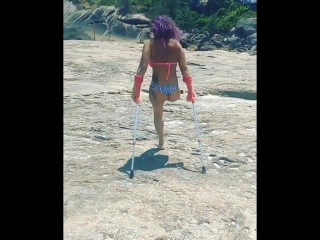 sexy amputee at the beach