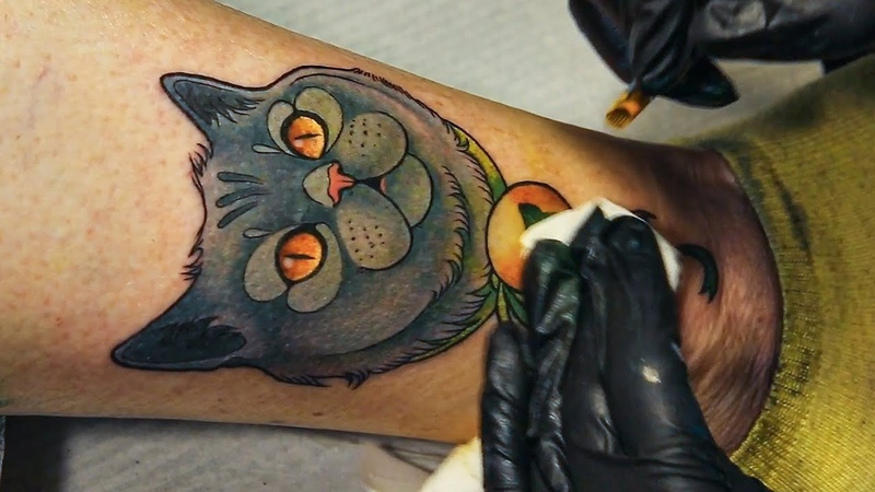Tattooing my Mom - neotraditional cat real time