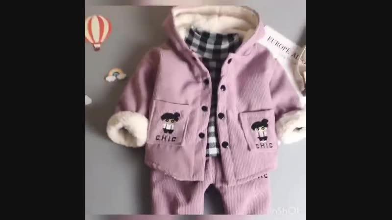 Утепленный комплект-тройка: курточка, водолазка, штанишки