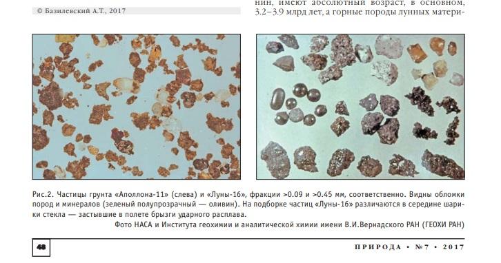 Фотографии лунного грунта из журнала «Природа»