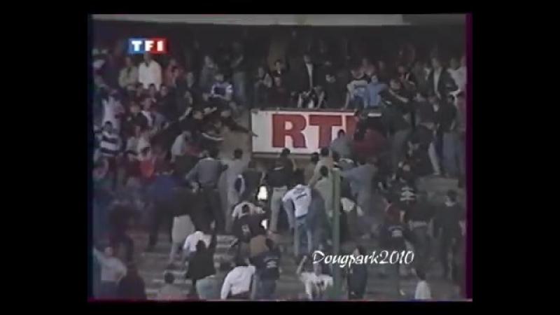 émeute au parc des princes tribunes Boulogne PSG vs Caen 1993 [ HQ ]