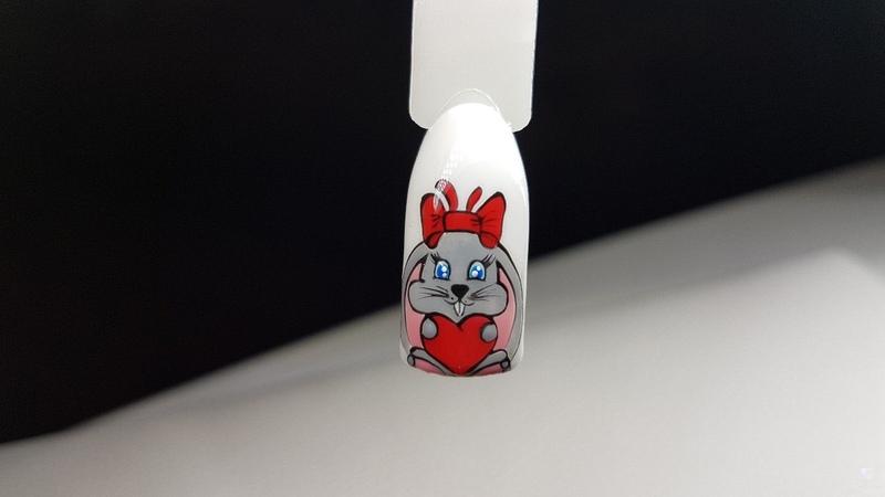 Дизайн ногтей гель красками ко дню Святого Валентина