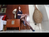 Красивые ножки в чулках. Sexy Hot Asian Lady with Blue Heels and Very Sexy Long