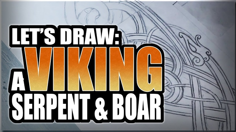 Let's Draw: A Viking Serpent Boar - REAL TIME