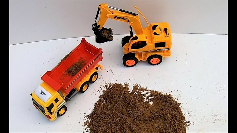 Playing With Excavator and Drum Truck Loader   Kids Toys   Eram AR Toys EP10