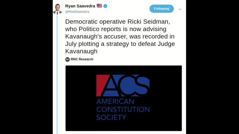 Democratic operative Ricki Seidman, who Politico reports is now advising Kavanaughs accuser, was recorded in July plotting a str