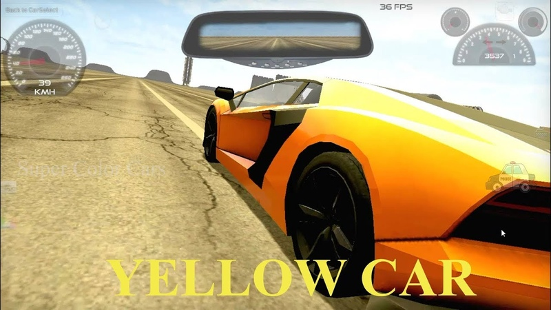 Colors for Children to Learn with Toy Super YELLOW Car with Sliders, Jumps and Turns for Kids