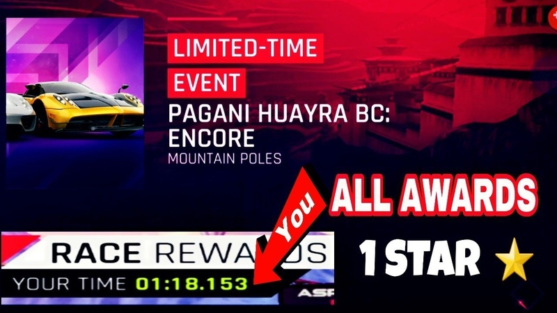 Asphalt 9 - PAGANI HUAYRA BC: ENCORE - 1 STAR ⭐-( 01,18,153 )