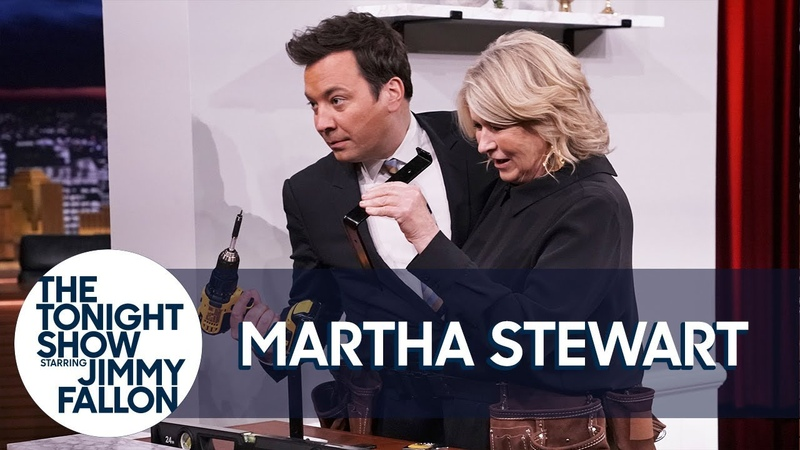 Martha Stewart and Jimmy Build a Shelf in 60 Seconds in a Double Tool Belt Challenge
