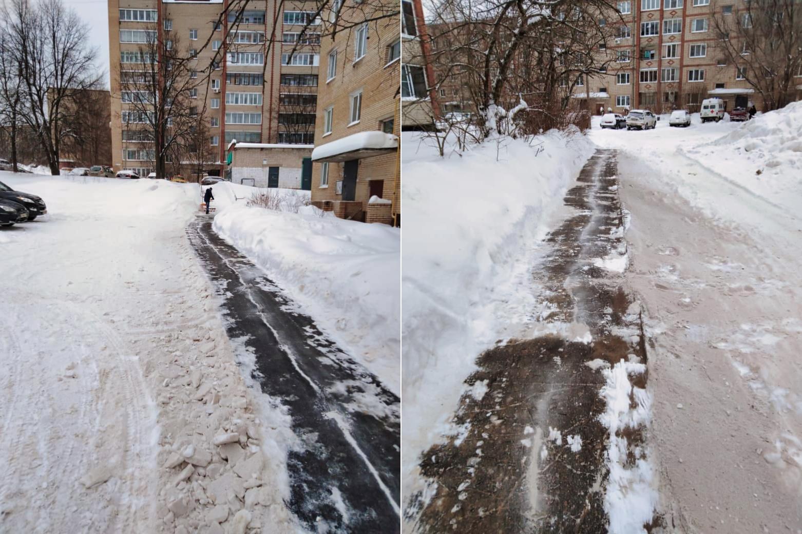 Очистили тротуары в микрорайоне от снега
