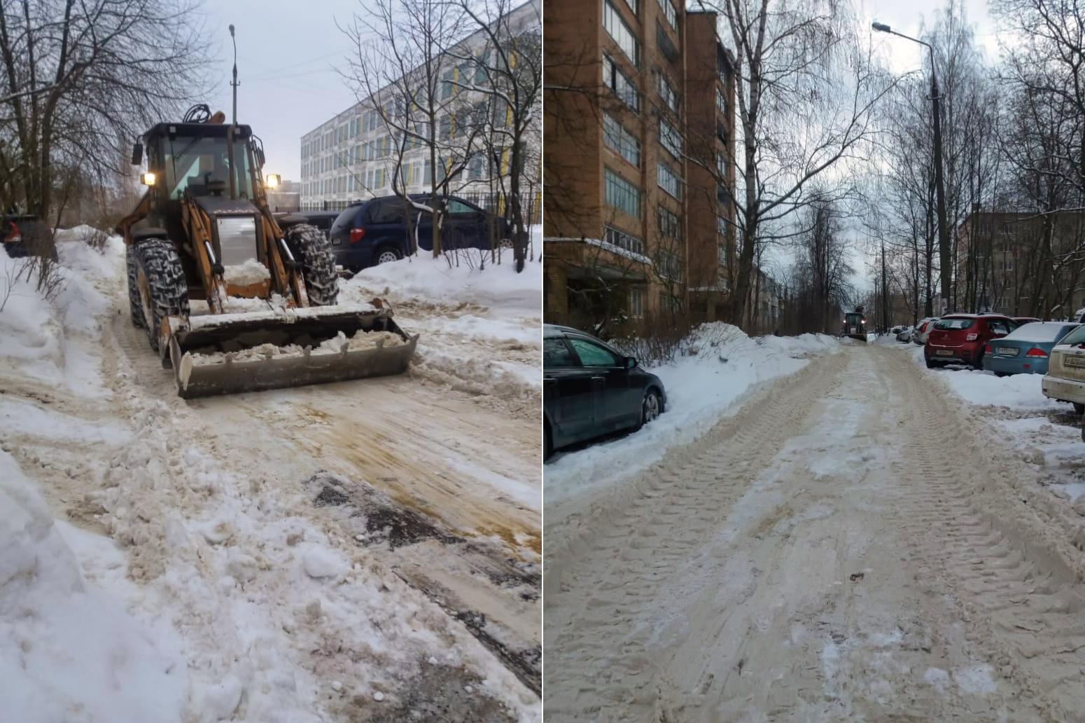 Убрали снег во дворах в микрорайоне Северный