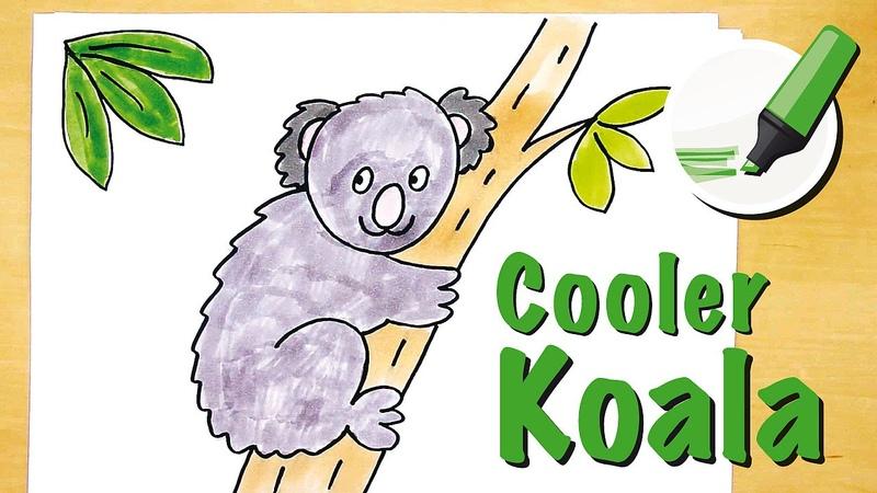 Koala zeichnen lernen - How to draw a Koala (Cartoon)