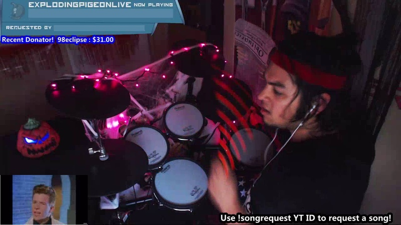 Rick Astley - Never Gonna Give You Up | Live Drum Cover on Twitch