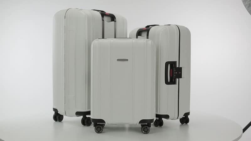 Самый прочный пластик - PP - полипропилен. Стильный чемодан c клипсами модель 56-3T-733-...