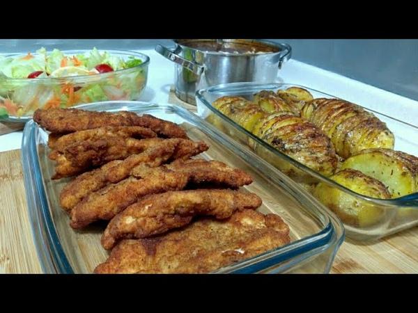Hafta Sonuna Yakışır Akşam Yemeği Menüsü Şinitzel Yelpaze Patates Yüksük Çorbası Seval Mutfakta