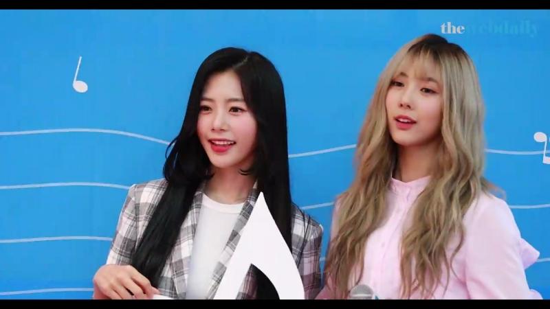 Джию и Юхён на пресс конференции Genie Music's Future Business Strategy 180822