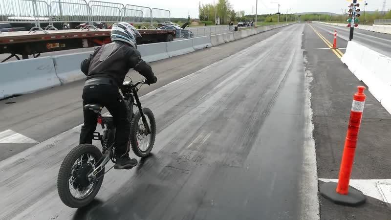 16000W ELECTRIC BICYCLE drag Racing 16.3s 1_4 mile 70mph run 3