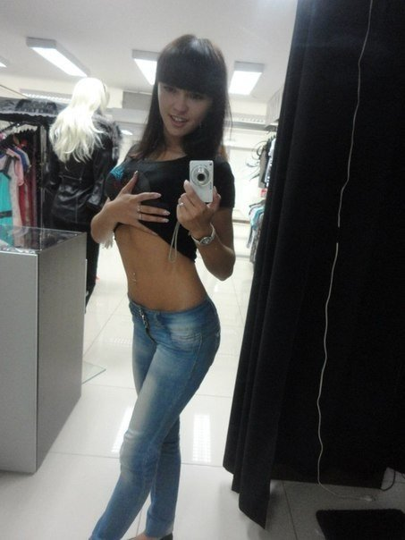 Perfect slim body of a teen gf