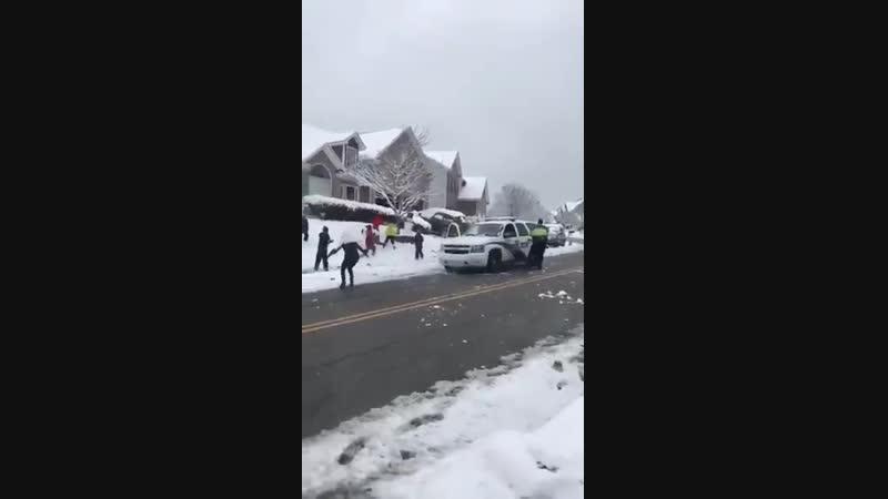 канадские детишки,всего лишь шутки ради, забросали полицейскую машину безобидными снежками