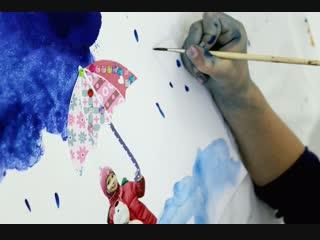 Катя _ рисуем дождь _ Мастерская Творческих ИЗОбретений
