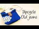 DIY Ideas   Creative Upcycle Old Jeans Into Stylish Sling bag❤❤裤脚别丢了,可以弄个包啊! HandyMum