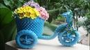 How To Make 3D Origami Tricycle Flower Basket Cómo hacer una cesta de flores triciclo origami 3D