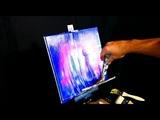 Step by step painting tutorial volcano, palm trees, beach, ocean acrylic glazing medium