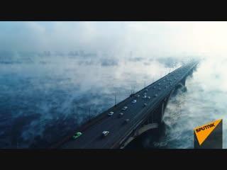 Призрачный туман над рекой Енисей