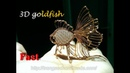 3D goldfish from copper wire and flat teardrop stone Fast version 371