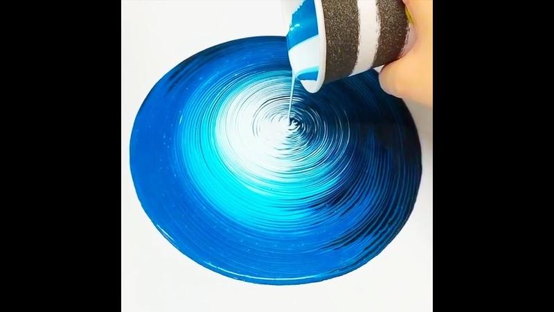 Fluid ART Super Mesmerizing TREE RING Acrylic Paint Pouring