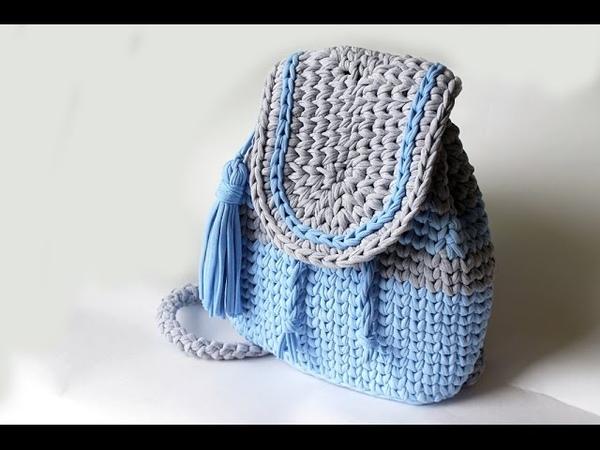Мастер-класс Вяжем рюкзак из трикотажной пряжи.