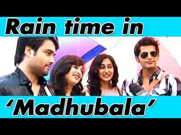 RK aka Vivian Dsena Karanvir Bohra enjoying the rain with their wives on the sets of Madhubala