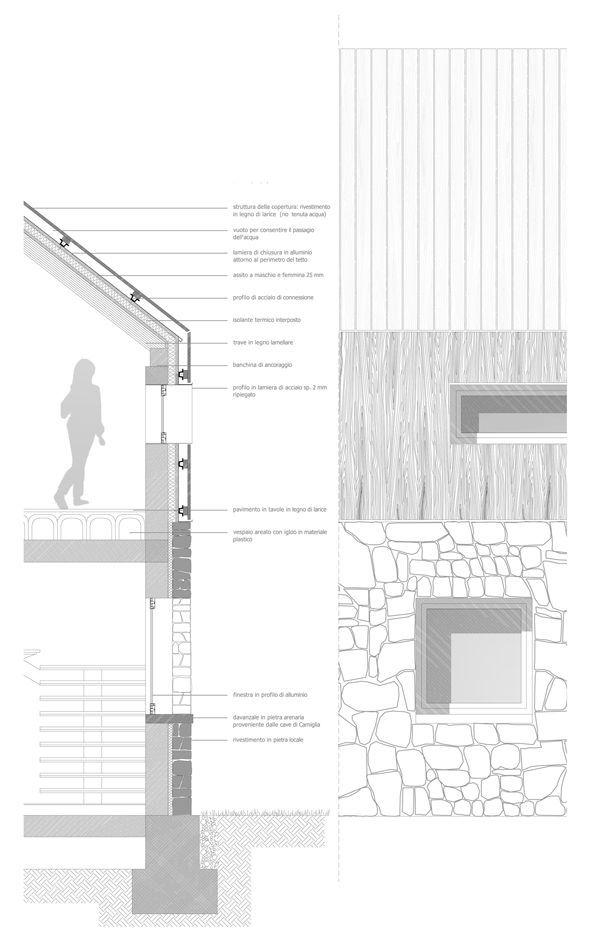 Узлы и разрезы стен с окнами, фрагменты фасадов.