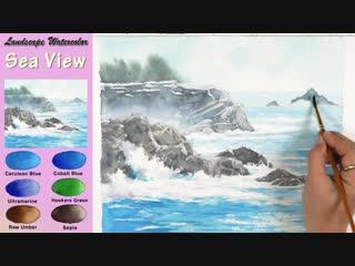 5 Basic Landscape Watercolor- Sea View (wet-in-wet. Arches rough)NAMIL ART