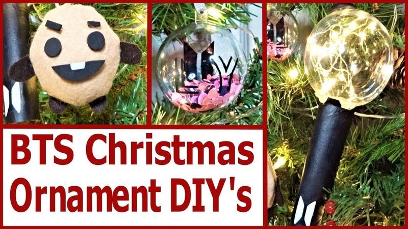 3 KPOP BTS Christmas Ornament Bauble DIY'S! Light Stick, Shookie Love Yourself.