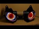 1 Kawasaki ZX6R 2007 2008 Dual halo Projector hid bixenon headlights by BKMOTO
