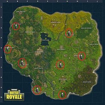 карта расположения садовых гномов в Fortnite