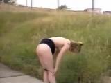 Naked in public near highway in daylight II