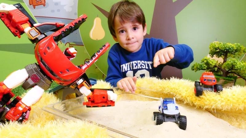 Transformer Tobot Monster Mashines Crusher ı kumdan çıkartıyor