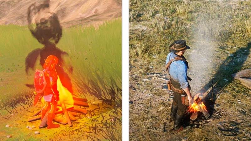 Red Dead Redemption 2 VS Zelda Breath of the Wild Interaction Details Comparison