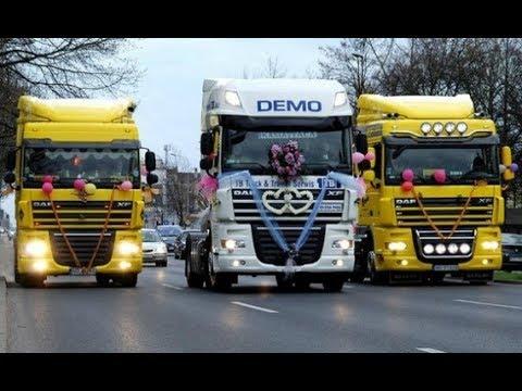Свадьба дальнобойщиков. Кортеж из грузовиков.