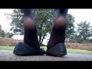 Ножки в колготках и балетках на улице Ballet Flat Ножки, Фетиш, Фут, Foot, Fetish, Чулки, Legs, Секси