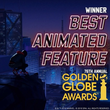 """Spider-Verse on Instagram: """"Thanks to the HFPA for selecting SpiderVerse as Best Motion Picture - Animated at this year's GoldenGlobes! 🕷️"""""""