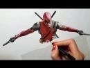 Deadpool drawing 3D